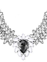 abordables -Cristal Collares Declaración - Gota Elegante, De Gran Tamaño Negro 50 cm Gargantillas Para Boda, Fiesta de Noche