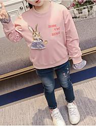 cheap -Girls' Floral Hoodie & Sweatshirt, Cotton Polyester Spring Long Sleeves Simple Blushing Pink Light Green