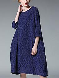 baratos -Mulheres Simples Túnicas Vestido Sólido Altura dos Joelhos