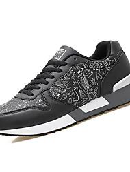 billige -Herre Sko PU Forår Efterår Komfort Sneakers for Afslappet Hvid Sort Mørkeblå