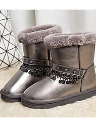 baratos -Mulheres Sapatos Pele Inverno Botas de Neve Botas Sem Salto Botas Cano Médio Prata