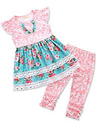 abordables -Enfants Bébé Fille Fleur Imprimé Sans Manches Ensemble de Vêtements