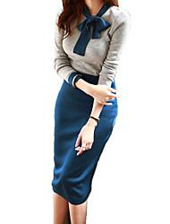 cheap -Women's Sweater - Color Block Dress