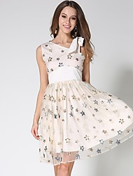 abordables -Mujer Vintage / Boho Línea A Vestido - Encaje / Malla / Borla, Floral / Geométrico Hasta la Rodilla