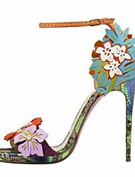 お買い得  -女性用 靴 PUレザー 春夏 アイデア / コンフォートシューズ サンダル スティレットヒール オープントゥ ベックル のために オフィス&キャリア / パーティー レインボー