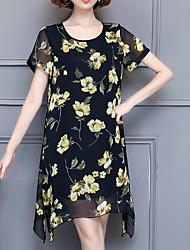 cheap -Women's Loose Shift Dress - Floral High Waist