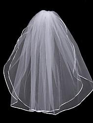 Недорогие -Два слоя Цветочный дизайн / Сетка / Платье-трансформер Свадебные вуали Соборная фата с Бахрома / Планка 31.5 (80 см) Полиэфир / Тюль / Овальная
