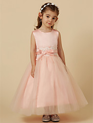 cheap -A-Line Short / Mini Flower Girl Dress - Tulle Sleeveless Jewel Neck with Sequin Buttons by LAN TING Express