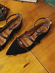 povoljno -Žene Cipele Brušena koža Proljeće ljeto Udobne cipele Ravne cipele Kockasta potpetica za Ured i karijera Crn / Tamno smeđa