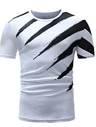 baratos -Homens Tamanhos Grandes Camiseta - Esportes Moda de Rua Estampado, Listrado / Estampa Colorida Algodão Decote Redondo Delgado / Manga Longa