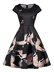 baratos -Mulheres Vintage Básico Evasê Vestido - Estampado, Floral Houndstooth Altura dos Joelhos Guindaste