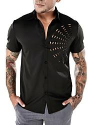 Недорогие -Муж. Аппликация Рубашка Классический / Панк & Готика Однотонный / С короткими рукавами