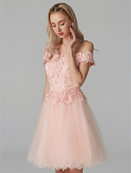 cheap -A-Line Off Shoulder Short / Mini Lace Over Tulle Prom Dress with Beading / Appliques by TS Couture®