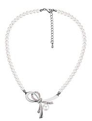 abordables -Femme Pendentif de collier - Perle, Imitation de perle Nœud Rétro, Mode, Elégant Or, Argent 40+5 cm Colliers Tendance 1pc Pour Fête / Soirée, Sortie