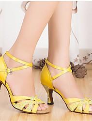 cheap -Women's Latin Shoes Silk Heel Stiletto Heel Dance Shoes Yellow / Performance / Leather / Practice