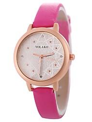 cheap -Women's Wrist Watch Quartz Casual Watch Imitation Diamond Large Dial PU Band Analog Casual Fashion Black / White / Blue - Red Blue Pink One Year Battery Life