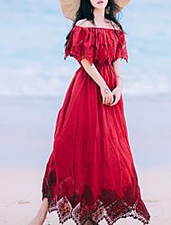 baratos -Mulheres Feriado Básico / Temática Asiática Algodão Delgado balanço Vestido - Frufru, Sólido Sem Alças / Ombro a Ombro / Decote Canoa Longo / Verão