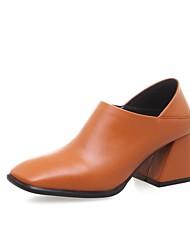 preiswerte -Damen Schuhe Leder Frühling Sommer Pumps High Heels Blockabsatz Schwarz / Orange