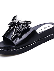cheap -Women's Shoes PU Summer Comfort Slippers & Flip-Flops Flat Heel Round Toe Bowknot for Casual White Black
