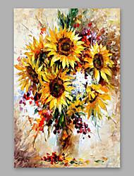 abordables -Peinture à l'huile Hang-peint Peint à la main - A fleurs / Botanique Moderne Autres