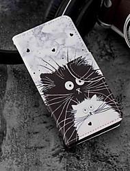 Недорогие -Кейс для Назначение Huawei P20 / P20 lite Кошелек / Бумажник для карт / со стендом Чехол Кот Твердый Кожа PU для Huawei P20 / Huawei P20 lite