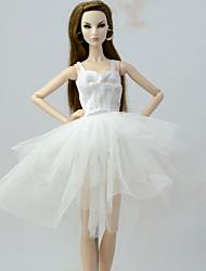 お買い得  -ドレス ドレス ために バービー人形 ホワイト オーガンザ ドレス ために 女の子の 人形玩具