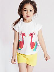 Недорогие -Дети / Дети (1-4 лет) Девочки Кран Однотонный С короткими рукавами Футболка