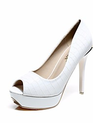 cheap -Women's Shoes PU Summer Basic Pump Heels Stiletto Heel Peep Toe for Outdoor White / Black