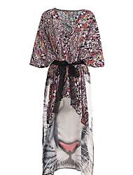 abordables -Mujer Activo Festivos Estampado - Algodón Blusa, Escote en Pico Corte Ancho Geométrico / Bloques Tigre / Primavera / Verano
