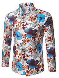 baratos -Homens Camisa Social Negócio / Boho Floral