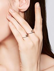 abordables -Femme S925 argent sterling Balle / Fleur Anneau ouvert - 1pc Mode / Coréen Or Bague Pour Quotidien / Valentin