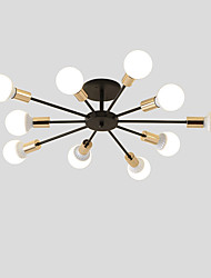 cheap -10-Head Vintage Metal Semi Flush Mount Ceiling Light Living Room Dining Room Lighting Painted Finish