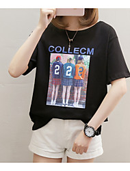 baratos -Mulheres Camiseta Básico Estampado, Letra / Retrato Algodão Solto / Verão