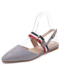 baratos -Mulheres Sapatos Camurça Primavera Verão Conforto Rasos Caminhada Sem Salto Dedo Apontado Presilha Preto / Cinzento / Marron