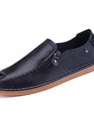 baratos -Homens sapatos Micofibra Sintética PU / Couro Ecológico Outono Conforto Mocassins e Slip-Ons Branco / Preto / Laranja