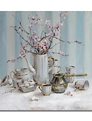 cheap -STYLEDECOR Modern Hand Painted Abstract Still Life Teapot Pink Flower Oil Painting on Canvas for Wall Art