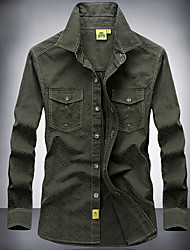Недорогие -Рубашка для охоты Муж. Анатомический дизайн / Пригодно для носки / Мягкость Однотонный Рубашка Длинный рукав для Отдых и Туризм / Охота