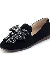 Недорогие -Жен. Обувь Нубук Весна / Осень Удобная обувь На плокой подошве На плоской подошве Квадратный носок Бант Черный / Бежевый / Серый