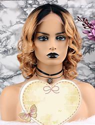 baratos -Cabelo Remy Peruca Cabelo Brasileiro Ondulado Corte em Camadas / Corte Bob 130% Densidade Com Baby Hair / 100% Virgem Loiro Curto Mulheres