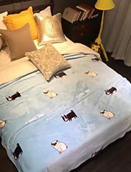 cheap -Coral fleece, Jacquard Cartoon Cotton / Polyester Blankets