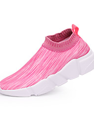 Недорогие -Жен. Обувь Ткань Лето / Осень Удобная обувь Мокасины и Свитер Беговая обувь На плоской подошве Пурпурный / Черно-белый / Черный / Красный