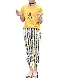 Недорогие -Дети Девочки С принтом С короткими рукавами Набор одежды