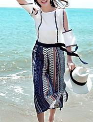 abordables -Mujer Boho / Tejido Oriental Conjunto - A Cuadros, Ahuecado Pantalón