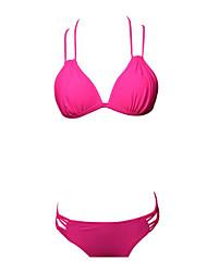 preiswerte -Damen Bikinis - Rückenfrei mit Schnürung, Solide Cheeky-Bikinihose
