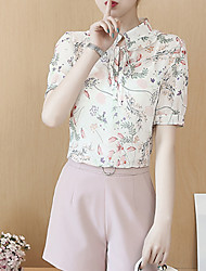 Недорогие -Жен. С принтом Блуза Классический Цветочный принт