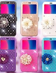 Недорогие -Кейс для Назначение Huawei P10 Plus / P10 Lite Бумажник для карт / Стразы / со стендом Чехол Геометрический рисунок / Цветы Твердый Кожа
