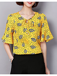 preiswerte -Damen Punkt Blumen - Street Schick Bluse Druck