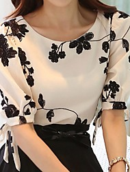 cheap -Women's Vintage / Basic Blouse - Floral Black & White, Embroidered