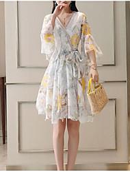 abordables -Mujer Básico Tejido Oriental Manga de la llamarada Corte Swing Vestido Floral Midi