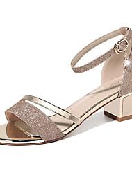preiswerte -Damen Schuhe Glanz Sommer Pumps / Gladiator Sandalen Blockabsatz Niete für Normal / Party & Festivität Gold / Silber